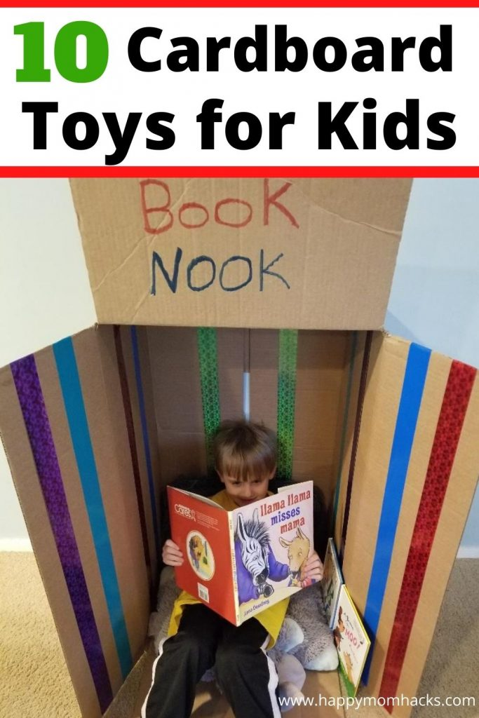 Cool DIY Cardboard Toys for Kids. Fun ideas to use up all your old cardboard boxes. Kids will love helping you make these cool cardboard crafts and then playing with them all day. Plus their super easy to make!