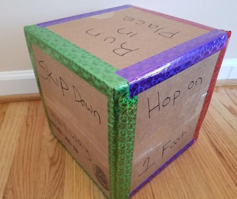 Use the Cardboard Exercise Dice to get your kids moving when your stuck indoors on rainy days.