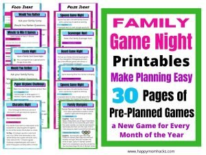 Family Game Night Planner a 30 Pages Printable. Everything you need to plan a family game night every month for a year. 12 cool game nights kids and parents will love. Print it out and have the best family night at home.