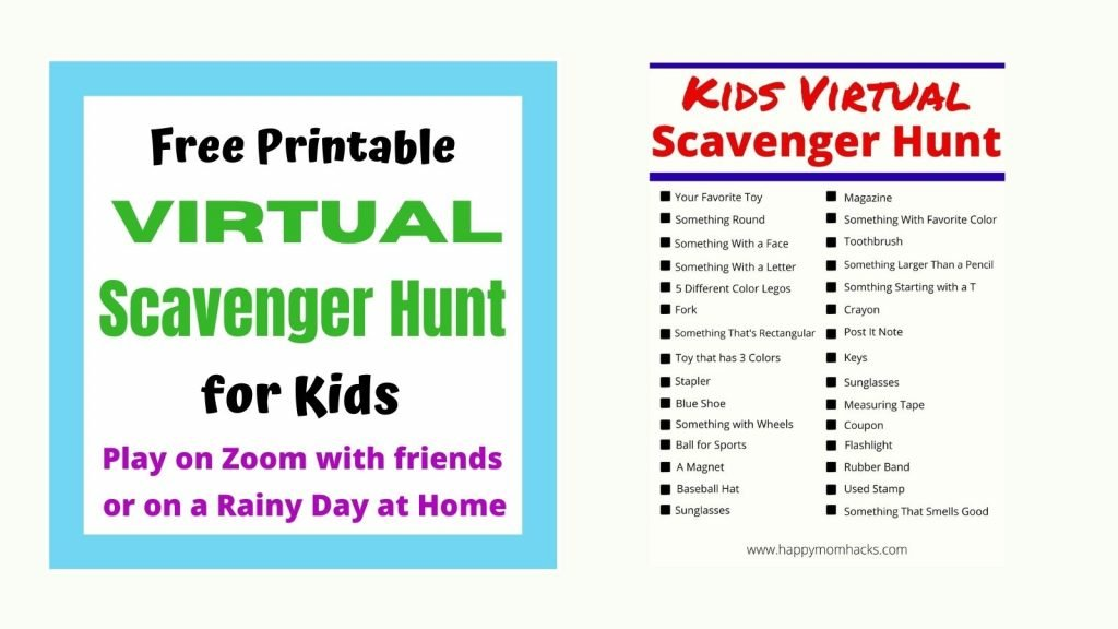 Fun Virtual Scavenger Hunt for Kids with a free printable. Play with friends on Zoom or as a rainy day game when your stuck indoors.