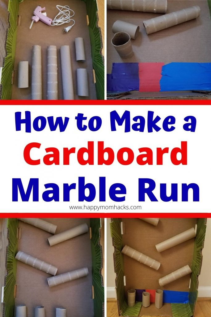 How to Make a DIY Cardboard Marble Run a cool STEM experiment. Turn your cardboard box, toilet paper rolls & paper towel rolls into a fun cardboard toy for kids.