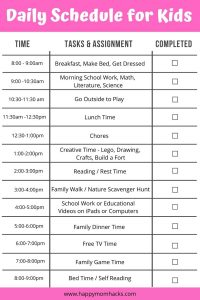 Free Printable Daily Schedule for Kids - Keep the kids on schedule over the summer or when schools out. It will help make your day organized and less stress-free.