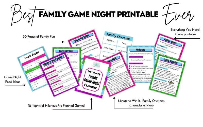 Plan an Awesome Family Game Night with a printable game planner. Everything you need from 12 months of  game ideas, to meal and snack ideas, prizes and more. Reconnect with your kids with a fun and easy family game night!