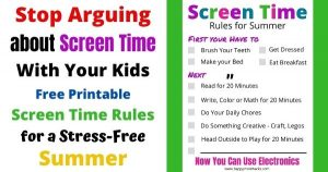 Free Printable Screen Time Rules Checklist for Kids to use this Summer. Stop arguing with your kids about electronics and use this summer checklist to set expectations.