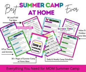 Printable Summer Camp at Home Ideas for Kids. Make planning summer at home with the kids to easy by following this complete camp planner. Find 8 Themed Weeks with activities, crafts & educational