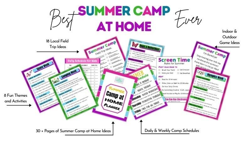 How to Plan Summer Camp at Home the easy way. More than 30 pages of printable camp at home ideas with 8 themes, schedules, field trips, kids activities and more. Everything you need to plan an awesome Mom Camp.