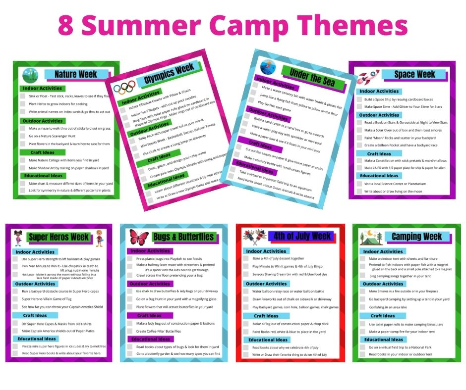 8 Fun Summer Camp at Home Themes & Ideas. A different themes each week like Nature, Space Week, Olympics, Super Hero's, Bug, Camping, 4th of July and under the Sea. A completely planned out camp week with indoor & outdoor activities, crafts and educational activities. All you need to do is print it out and your Summer Camp at home is planned.