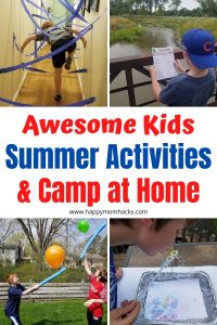 Fun Indoor & Outdoor Summer Activities for kids. Use these to plan an easy and fun Camp at Home this summer with your family. Keep your kids busy and off electronics all summer long.