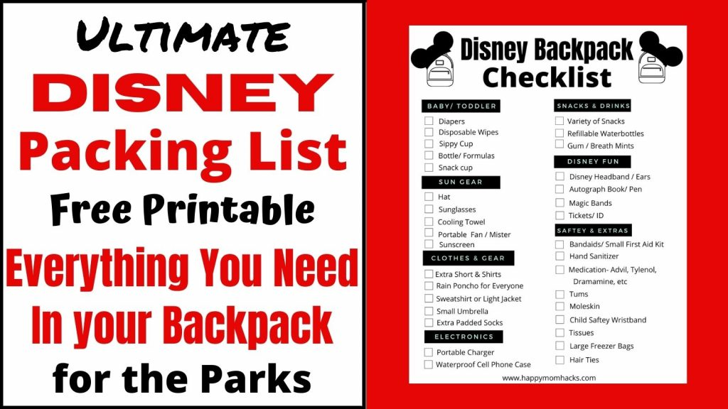 Free Printable Disney Park Bag Checklist for Families. Everything you need to bring to the Disney parks for a stress-free day. Follow this easy checklist and you'll be ready for your awesome Disney Vacation.