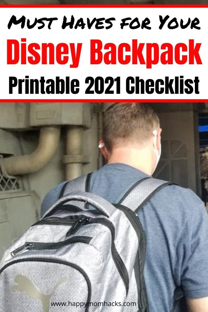 Free Printable Disney Checklist for your park backpack. All the essentials you'll need for a day at the Disney parks with your kids in 2021. No more worrying about what to pack just print out this checklist and you'll be ready.