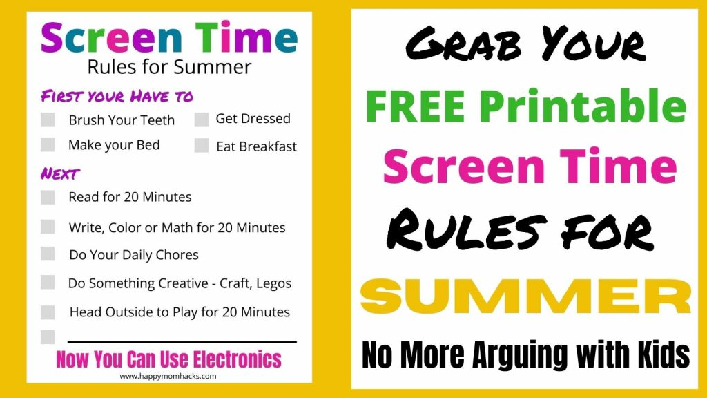 Free Printable Summer Screen Time Rules for Kids. No more arguing with kids over electronics. Use this daily checklist to get organized and set expectations this summer.