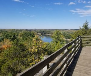 Starved Rock State Park Boardwalk along the Illinois River. Perfect day trip or weekend getaway from Chicago for families.