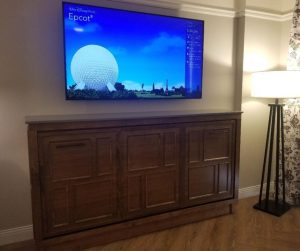 TV & Murphy Bed at Disney Saratoga Springs Resort. A perfect bed for kids while staying at the Disney Resort.
