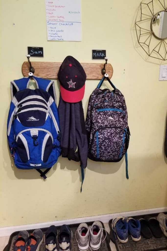 Back to School Backpack Stations for Mudrooms for kids. Get Organized for Back to School this year with a spot for your kids coats, shoes and backpacks.