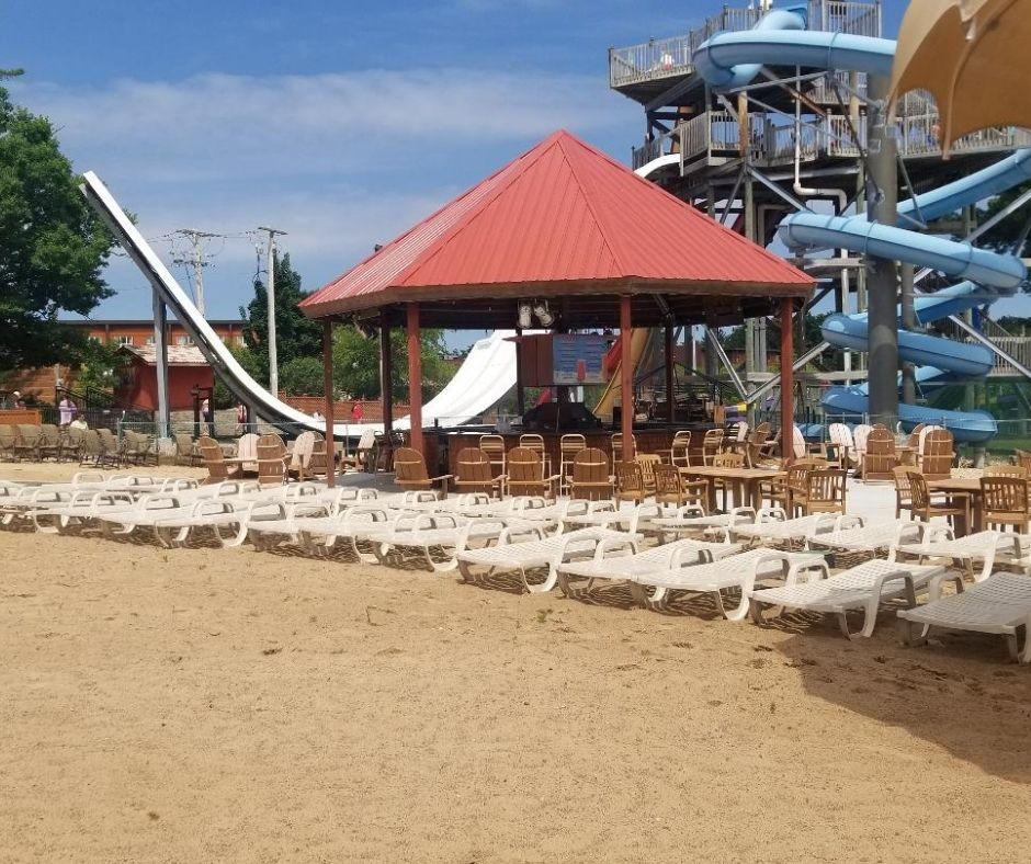Outdoor Beach & Bar Area at Chula Vista Resort in Wisconsin Dells.