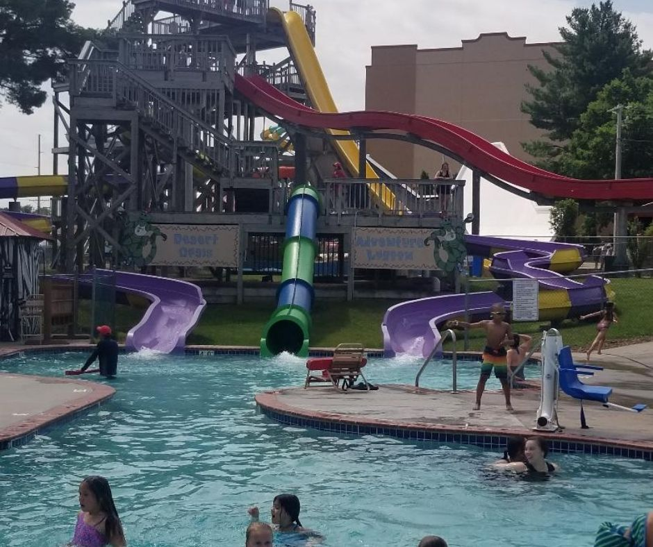 Chula Vista Resort Adventure Lagoon with outdoor pool and waterslides.