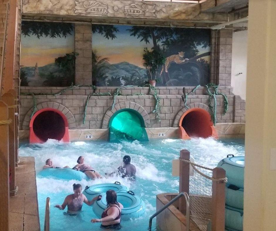 Water slides at Chula Vista indoor water park.