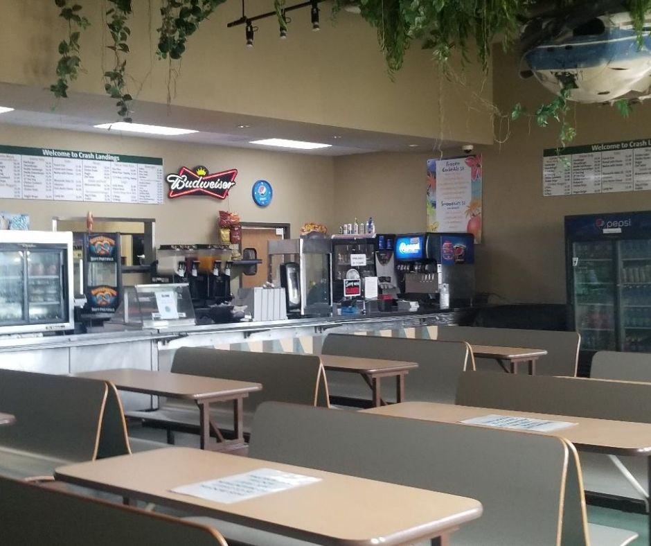Grab a fast meal at Crash Landing Waterpark snack bar.