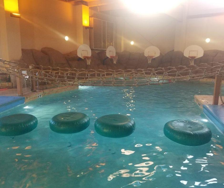 Fun Indoor sports pool at Los Rios Indoor Water Park at Chula Vista Resort in Wisconsin Dells.