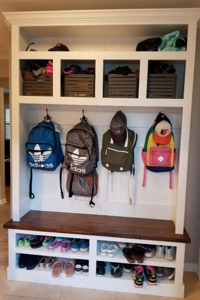 Backpack Station in your Mudroom. Get Organized for Back to School with spaces for all your kids backpacks, shoes and coats.