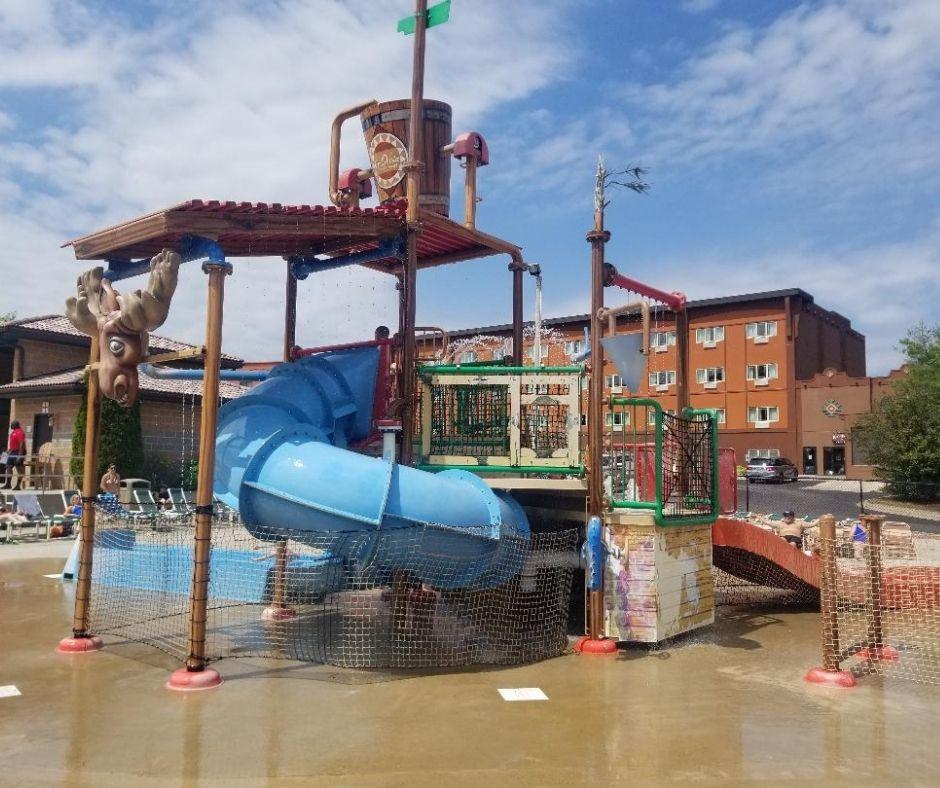 Outdoor Kiddie Splash Pad in the Adventure Lagoon area of Chula Vistas Hotel Water Park.