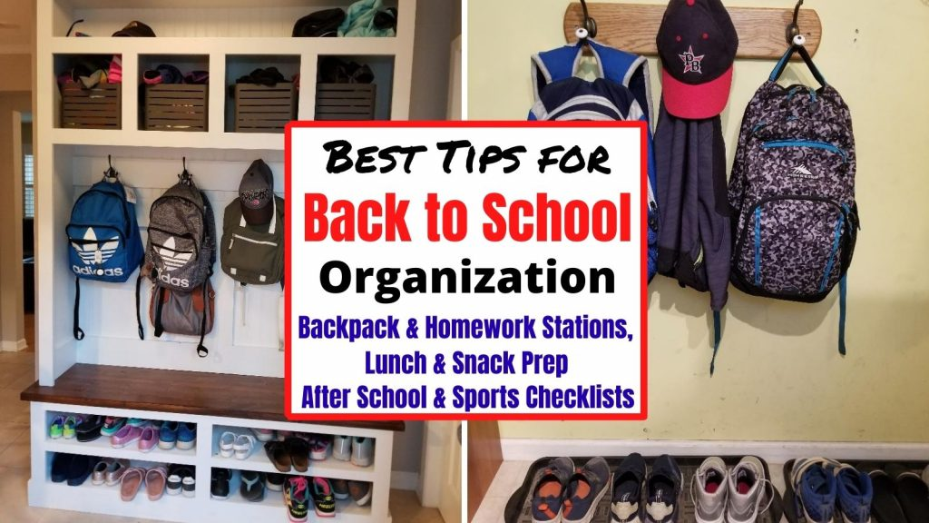 Get Organized for Back to School with backpack & homework stations, easy lunch & snack prep ideas for quick mornings. Plus printable after school checklists and sports checklists. Everything parents need for a stress-free school year.