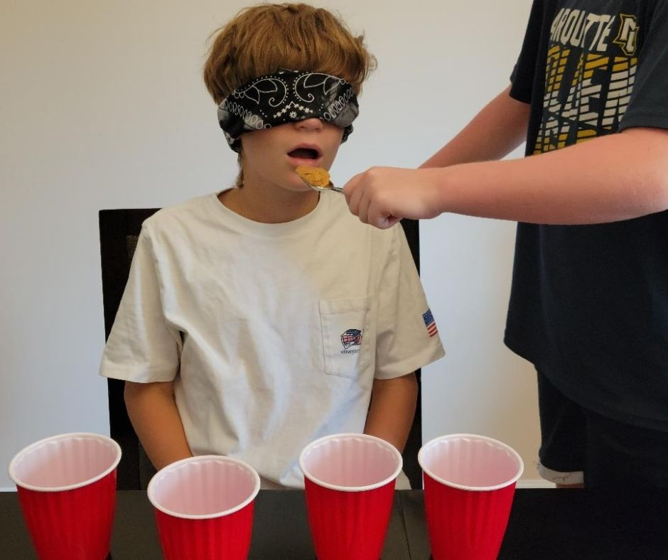 Guess what your tasting in this fun Minute to Win it Game for Teens & Tweens  - Blind Food Challenge.