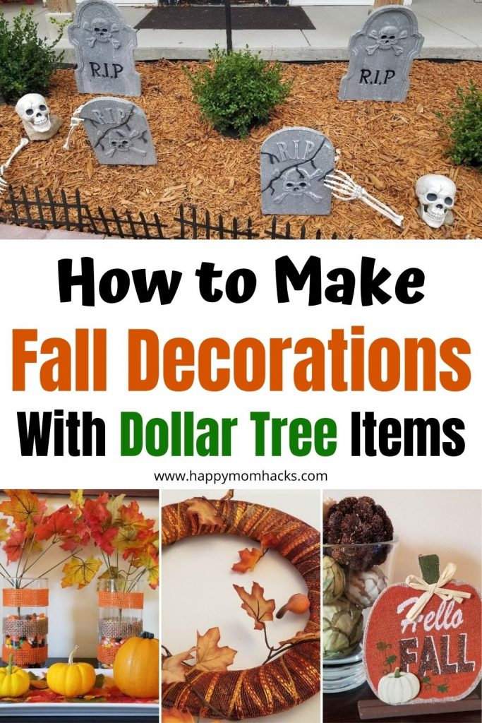 DIY Dollar Tree Fall Decorations for Indoors & Outdoors in 2021. Learn how to make DIY fall Décor like wreaths, crafts, table settings and front yard Halloween displays. Plus cute items to buy premade. Your friends won't believe you got it all for $1!