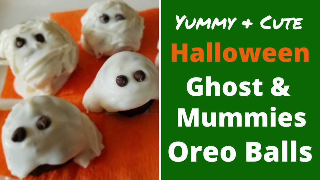 Yummy Halloween Oreo Ball Dessert perfect for Holiday parties. Easily make cute Ghosts & mummies for the kids to eat. They'll be the hit of the party!