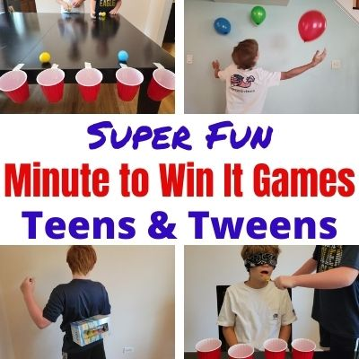 Fun New Minute to Win It Games to Play with Teens & Tweens age 10-18 years old. Quick challenges perfect for kids parties, holiday parties, school functions and family game night. Easy games with supplies you most likely have at home already. Pull these out and get your hard to please teenagers engaging and laughing with everyone.