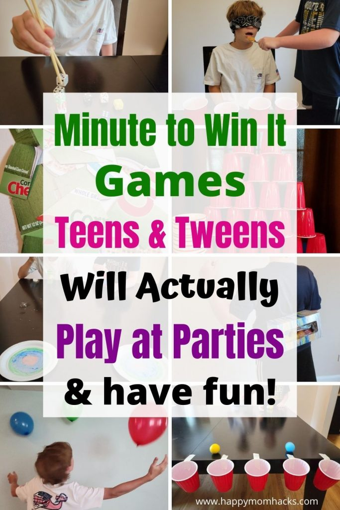 Minute to Win it Games are the best Party Games & Family Game Nights for Teens & Tweens. Quick games kids age 10-18 will enjoy. Learn how to play games like like junk in the truck, cup stacks, keep it up, dice stack and more. Kids will have a blast playing all these party challenges!