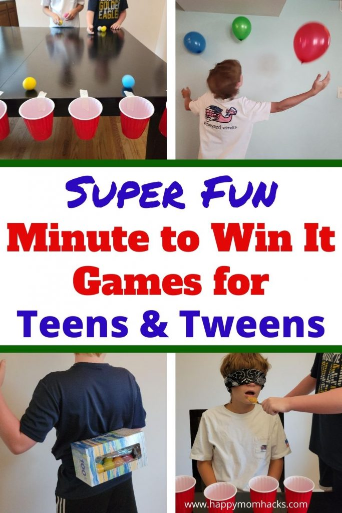 Tweens & Teenagers will Love these fun Minute to Win it Challenges. Quick party games for teens to play on family game nights, at school functions or holiday & birthday parties.