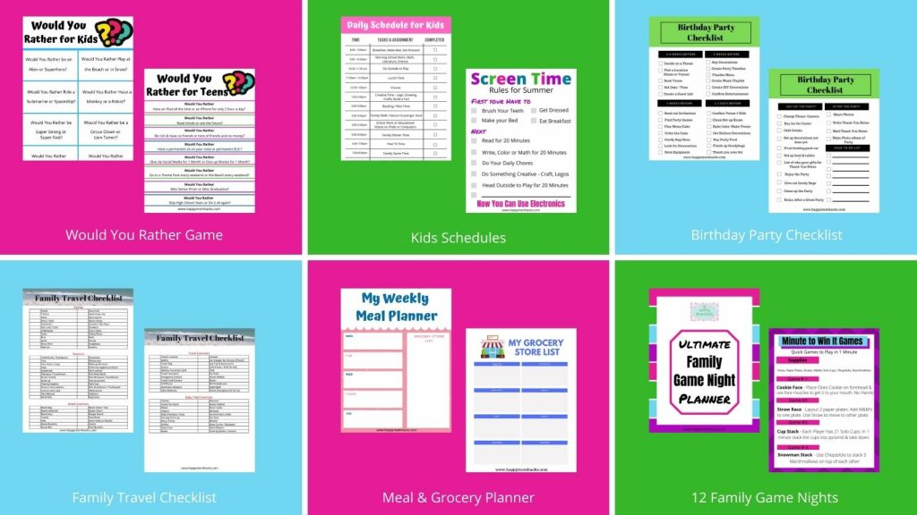 Awesome Printables to help mom's get organized, plan meals, create family game nights & kids activities. Plus screen time rules & kids schedules. Tons of Free printable options too!