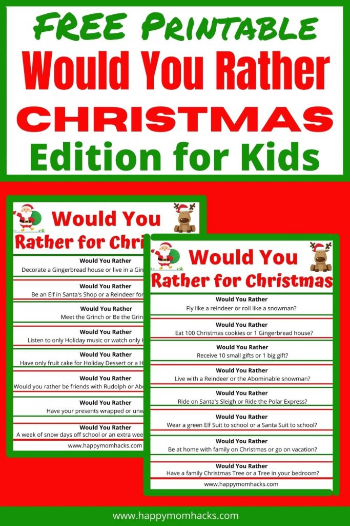 Hilarious Christmas Would You Rather Questions for Kids. A fun holiday party game, winter road trip game, or just a night at home with the kids. This free printable is the perfect Christmas game to get the whole family laughing and having fun together. Print it out and try it today!