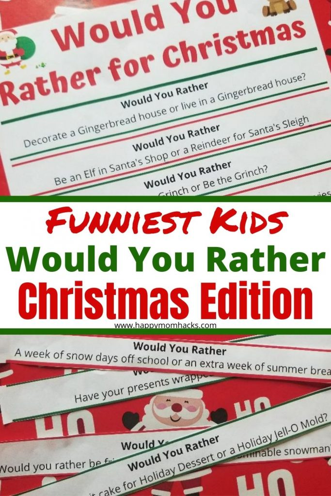 Free Printable Christmas Would You Rather Questions for kids. A fun party game for holiday parties, school parties and holiday road trips. The whole family will have fun playing this easy holiday game.