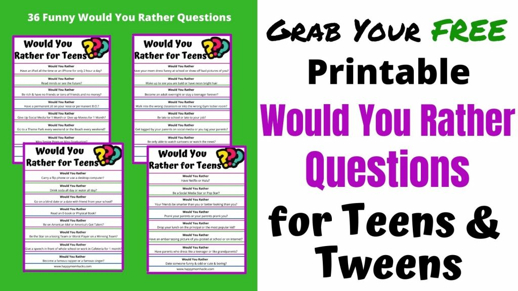 Free Printable Would You Rather Questions for Teens & Tweens. Perfect game to get teens engaged as conversations starters or parties.