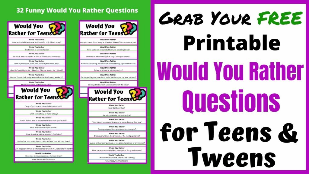 Free Printable Would You Rather Questions for Teens & Tweens. Perfect game to get teens engaged as conversations starters or fun at parties.