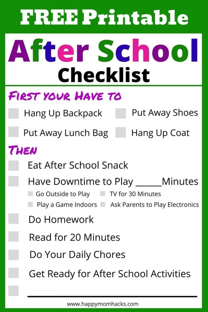Grab Your Free Printable After School Checklist & Schedule. It will help you create an easy daily schedule for kids after school.