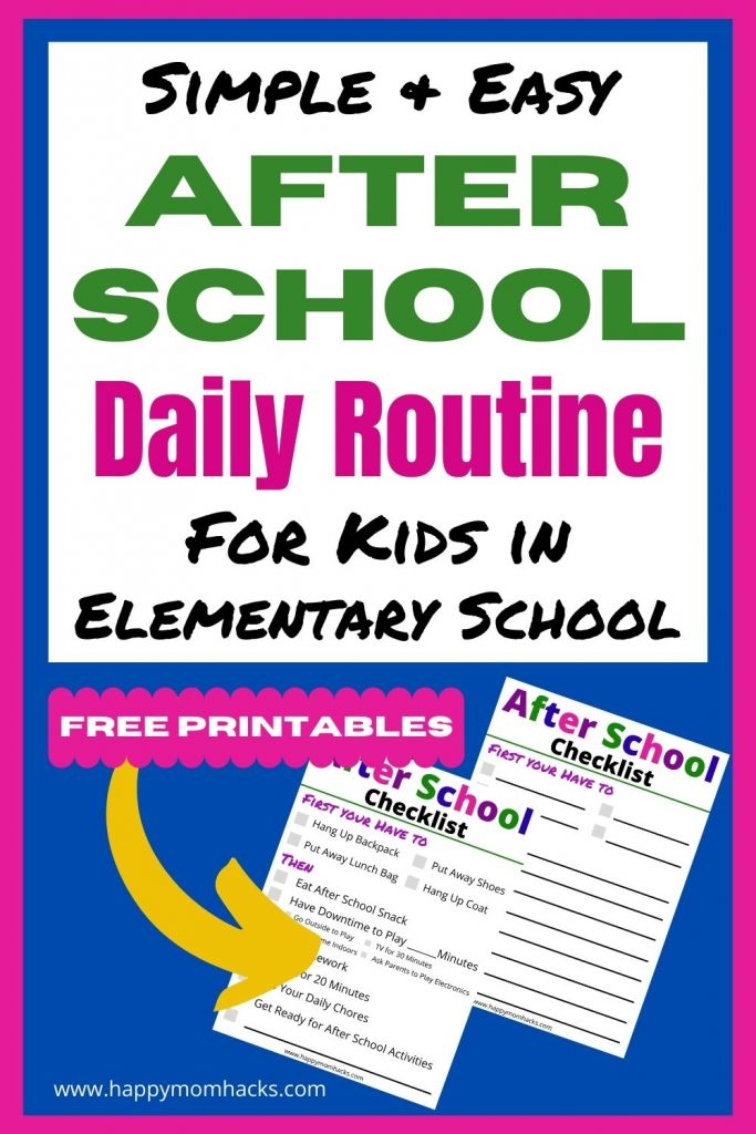 Easy Daily After School Schedule for Kids to follow. Learn how to create a daily routine that will work for your family and makes after school time less chaotic. Use the FREE Printable After School Checklist to help keep you on track too!