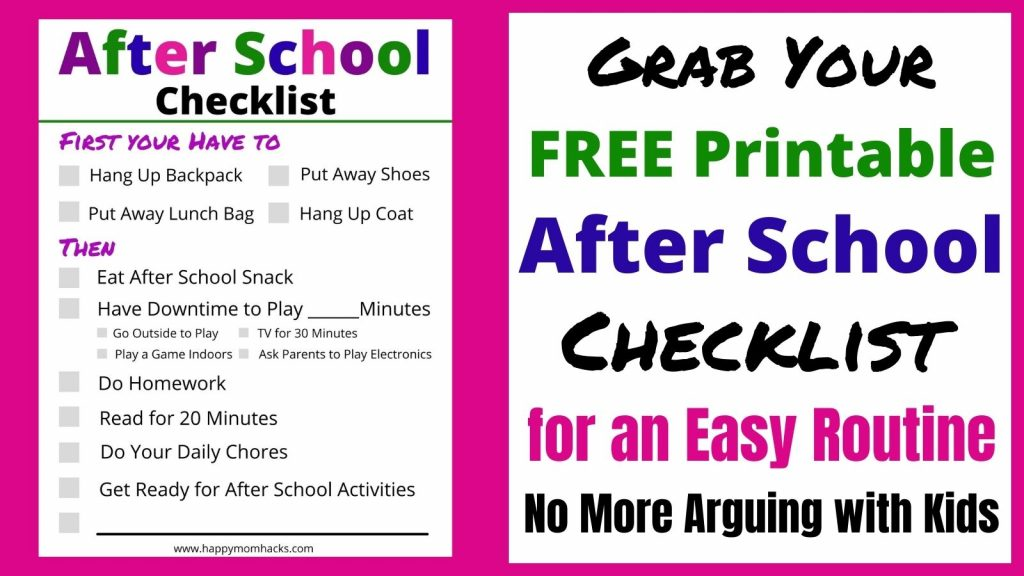 Free Printable After School Checklist to Create an After School Routine. Get organized after school with this easy to follow checklist. It will make your day so much easier!