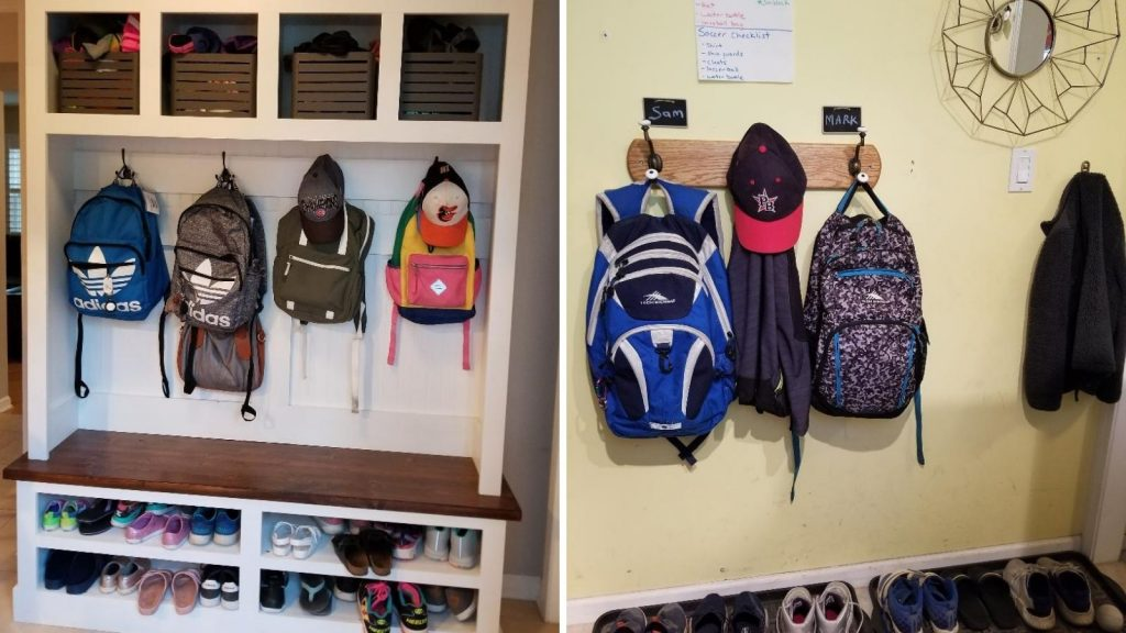 DIY Backpack stations to help get kids into the after school routine of hanging up their backpacks and coats.