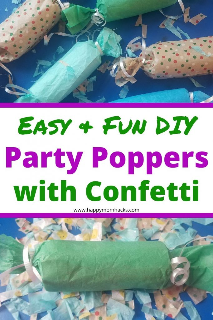 How to Make DIY Party Poppers in 7 quick steps. All you need is toilet paper rolls, tissue paper and ribbon to make these cool poppers. Use these to celebrate New Years, 4th of July , Gender Revels, Birthdays, Graduations and more. Your kids will love these!