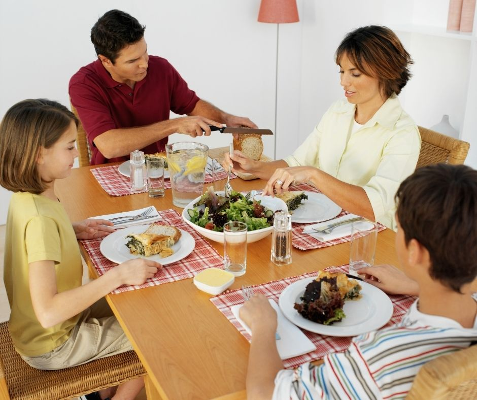 Plan a family dinner every night as part of your daily routine after school. Catch up as a family and enjoy time together.