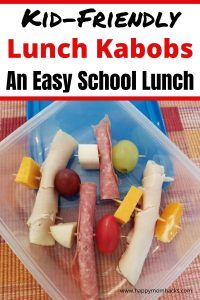 Need a school lunch your kids will eat? Lunch Kabobs are easy to make and adjust to each child's taste. Your sure to find a combination of meat, cheese, fruits and vegetables to add to the toothpick your kids will love. Plus you can make them ahead for a stress-free morning. The perfect Back to School Lunch idea!