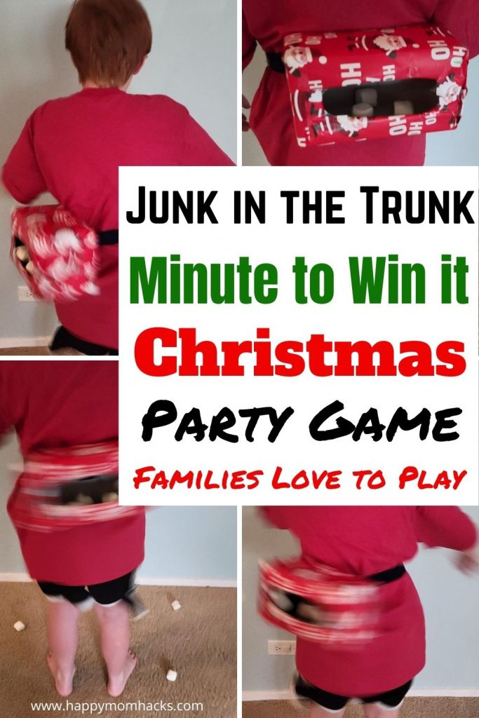 How to Make Junk in the Trunk Minute to Win it Christmas Party Game for Kids. Turn this classic minute to win it game into a Christmas theme with wrapping paper. It's a hilarious game everyone in your family will have a blast playing. Make it your new Christmas family tradition.