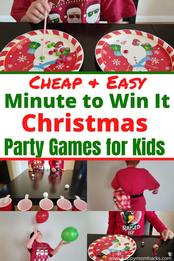 Easy Christmas Party Games for Kids - Minute to Win It games are perfect for Holiday Parties, school parties and family Christmas parties. There quick & hilarious games the whole family will enjoy playing together. Learn how to play the games and all the supplies you'll need and be ready for an unforgettable Christmas party!
