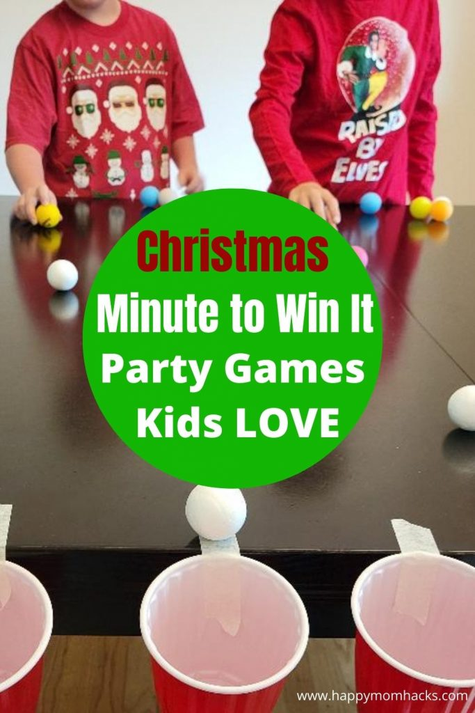 Fun Christmas Minute to Win it Games for Kids. Families will love playing these easy & cheap party games at their next holiday party. 12 quick game ideas great for school parties too!