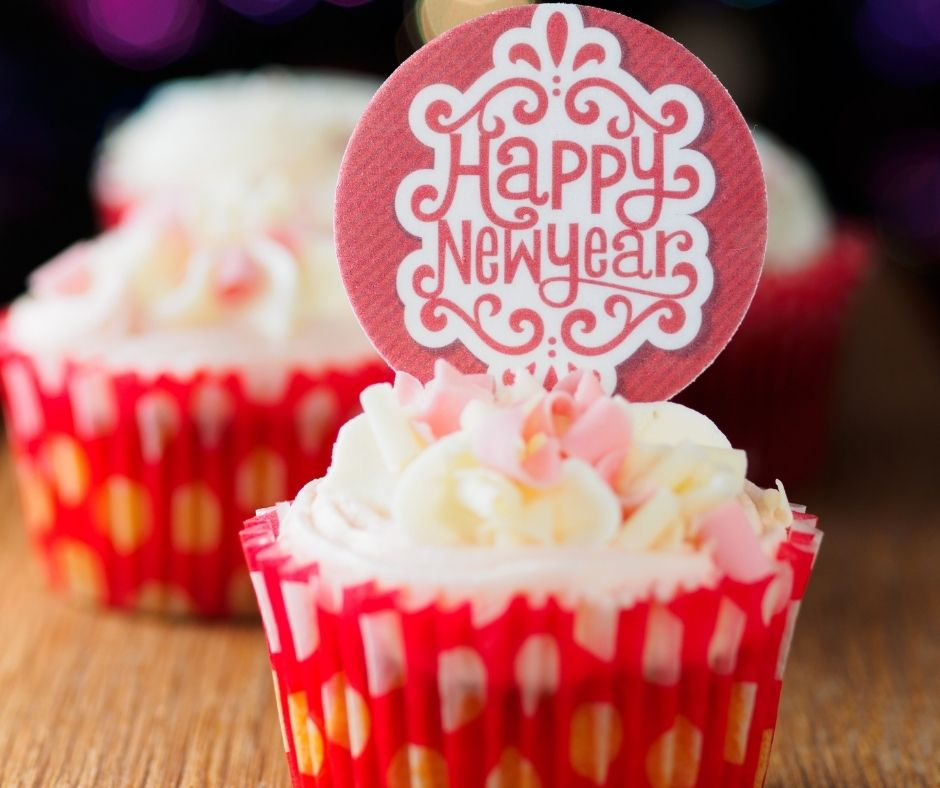 Yummy Cupcakes for Dessert with New Years eve toppers. A fun way to ring 2022.