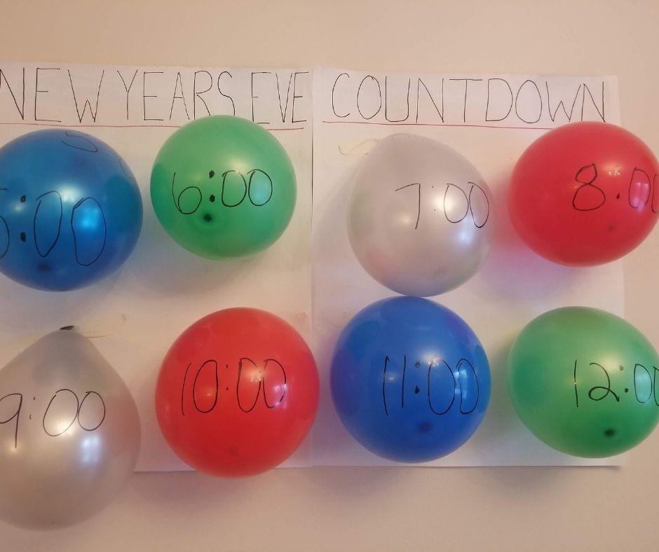 DIY Balloon Countdown for New Years Eve with Kids at home. A fun way to ring in the new year with balloons to pop every hour.