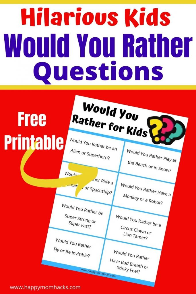 Easy Party Game Would You Rather Questions for Kids. FREE printable PDF cards with silly questions the kids will love answering and you'll be laughing listening too. Use these at school parties, birthday parties, holiday parties, as a road trip game or just as conversation starters. Just print it out and you're ready to play!